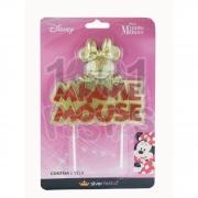 Vela Minnie Metalizada Glitter Dourada