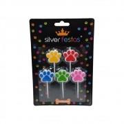 Vela Pet c/5 unid Silver Festas