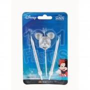 Vela Trio Mickey Metalizada Prata
