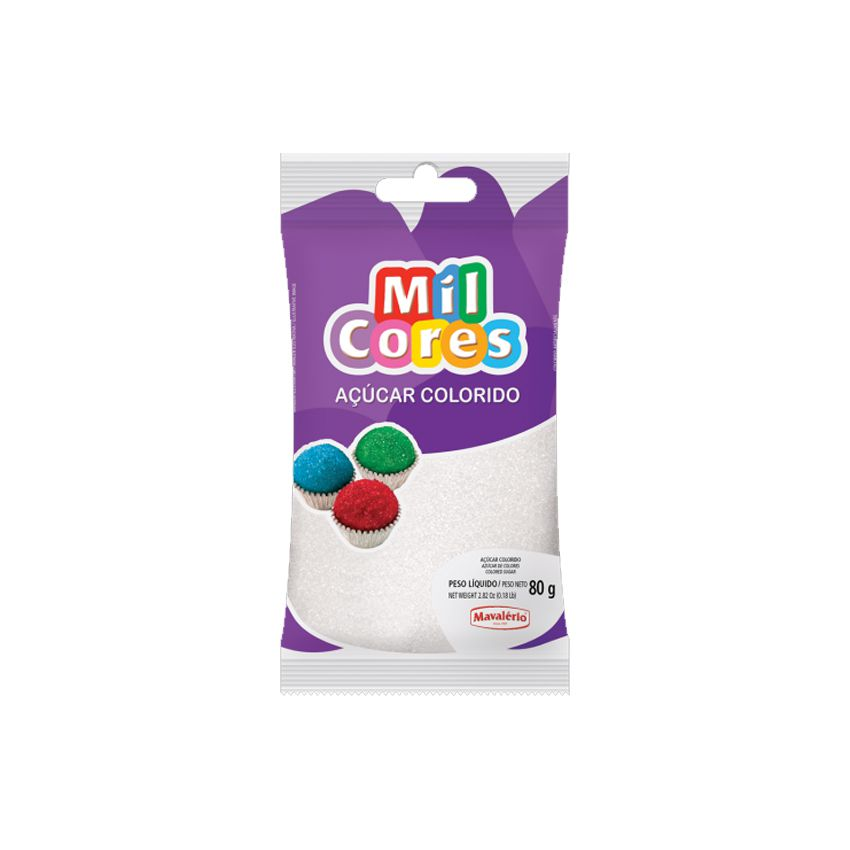 Açúcar Mil Cores Branco 80g Mavalério