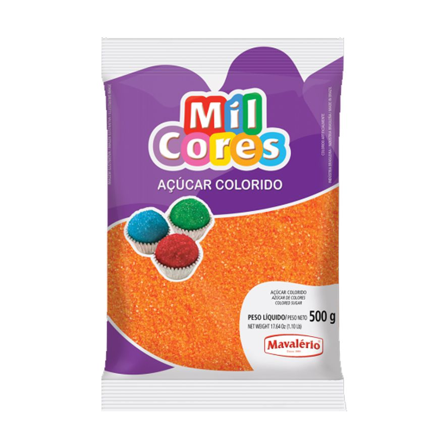 Açúcar Mil Cores Laranja 500g Mavalério