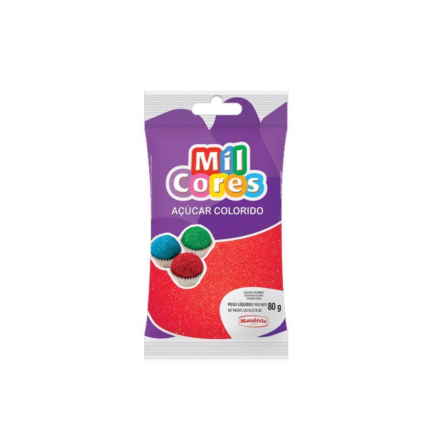 Açúcar Mil Cores Vermelho 80g Mavalério