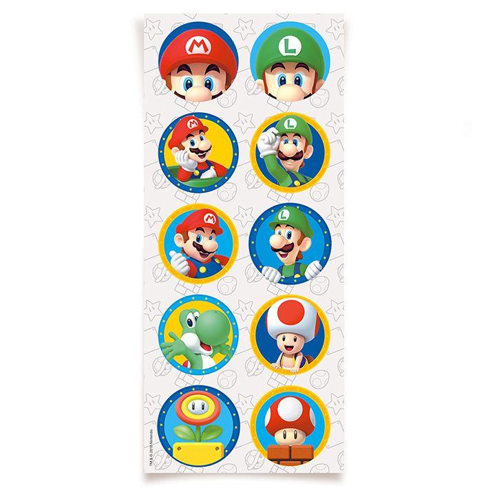 Adesivo Redondo Super Mario C 30 unid Cromus