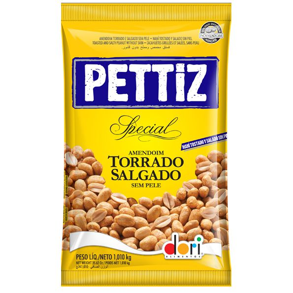 Amendoim Torrado Salgado Sem Pele Pettiz 1,010 Kg Dori