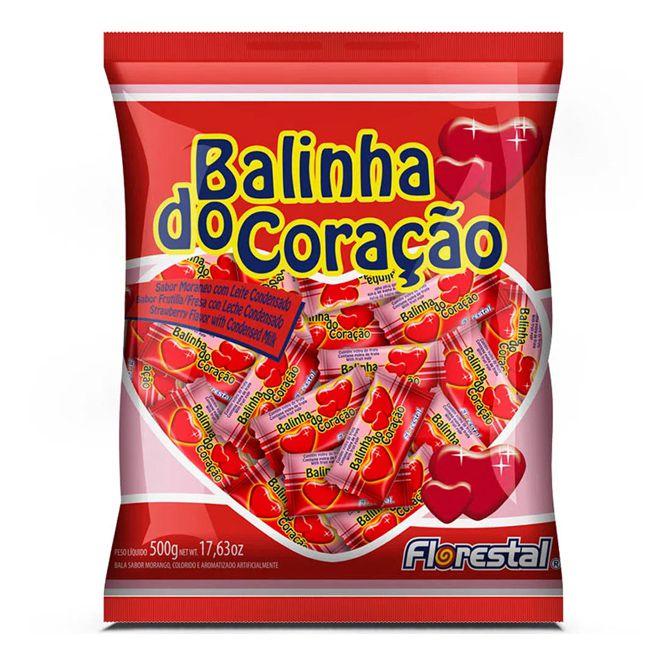 Bala Dura 500g Coração Morango Florestal