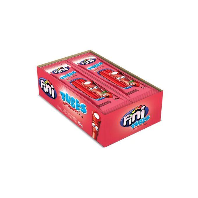Bala Regaliz Pocket 12 x 17g Tubes Morango Fini