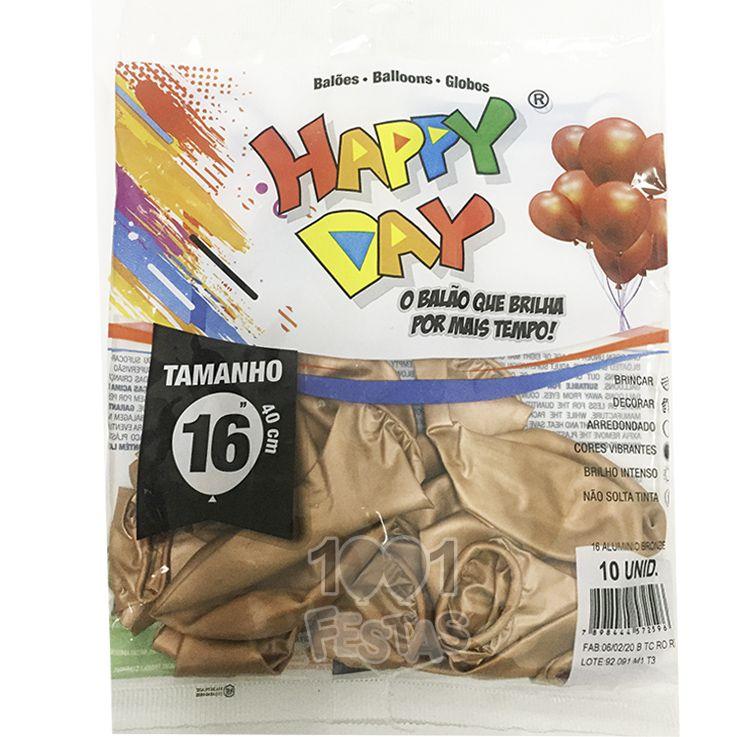 Balão Alumínio Bronze N16 10 unid Happy Day