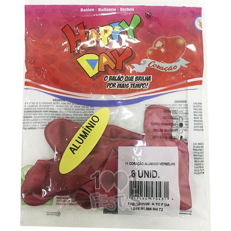Balão Alumínio Coração Vermelho N11 06 unid Happy Day