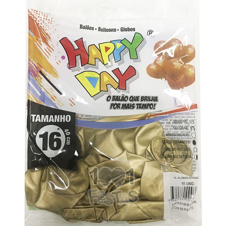 Balão Alumínio Dourado N16 10 unid Happy Day