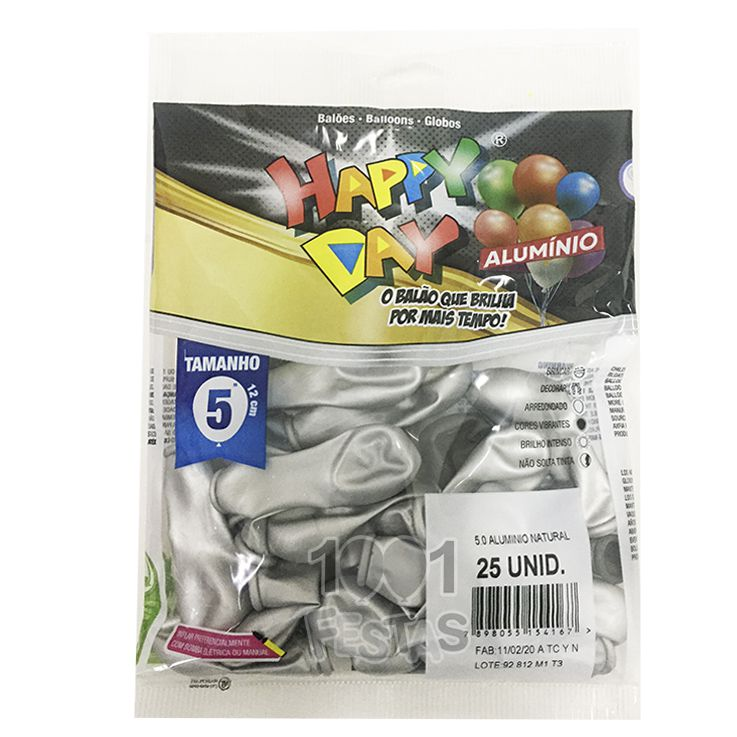 Balão Alumínio Natural N05 25 unid Happy Day