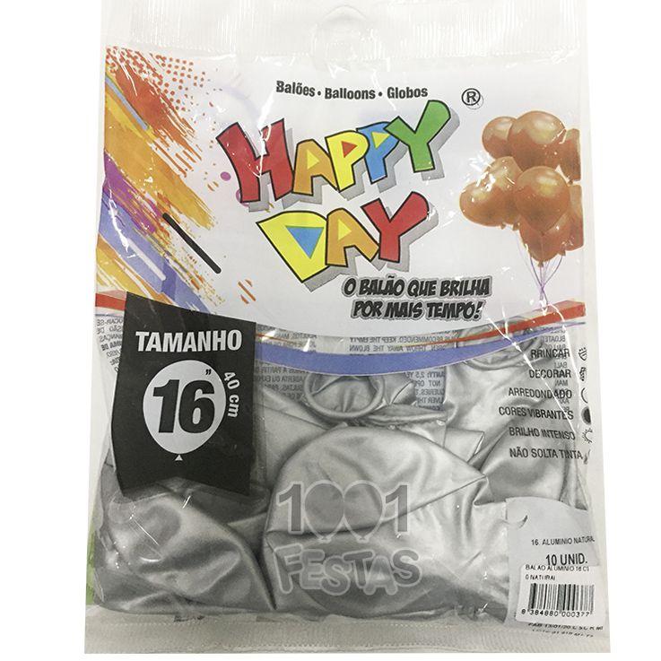 Balão Alumínio Natural N16 10 unid Happy Day