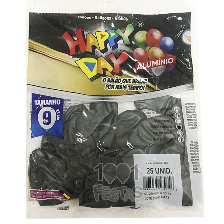 Balão Alumínio Onix N9 25 unid Happy Day
