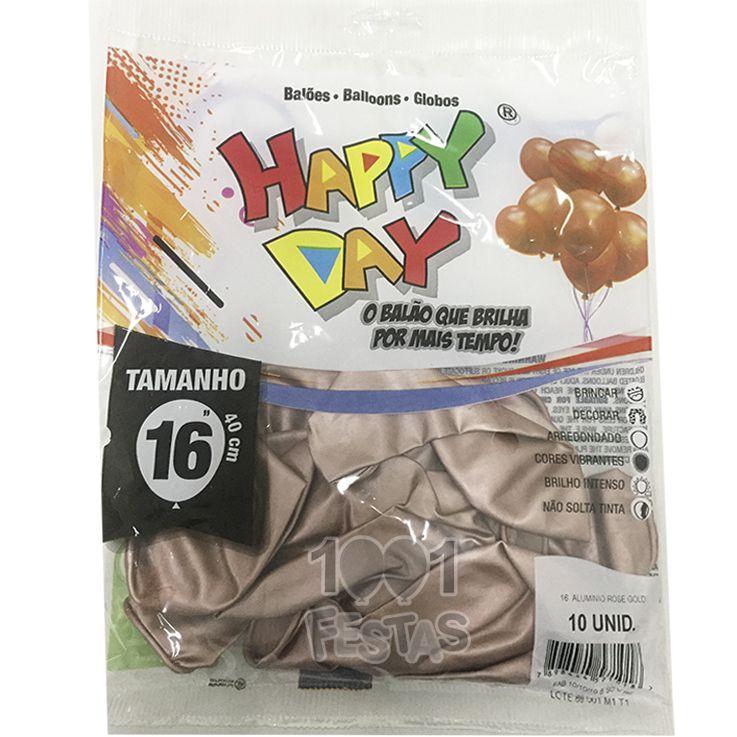 Balão Alumínio Rose Gold N16 10 unid Happy Day