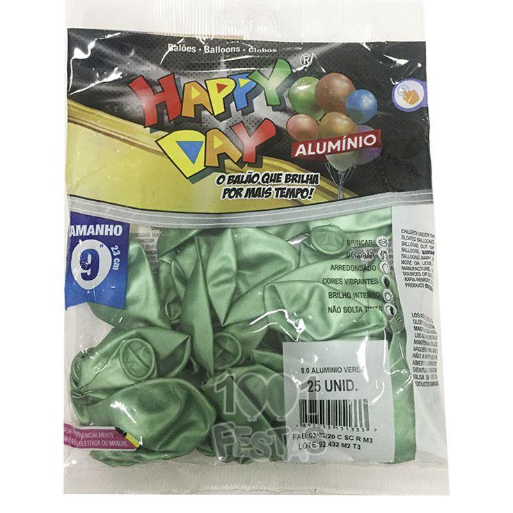 Balão Alumínio Verde N9 25 unid Happy Day