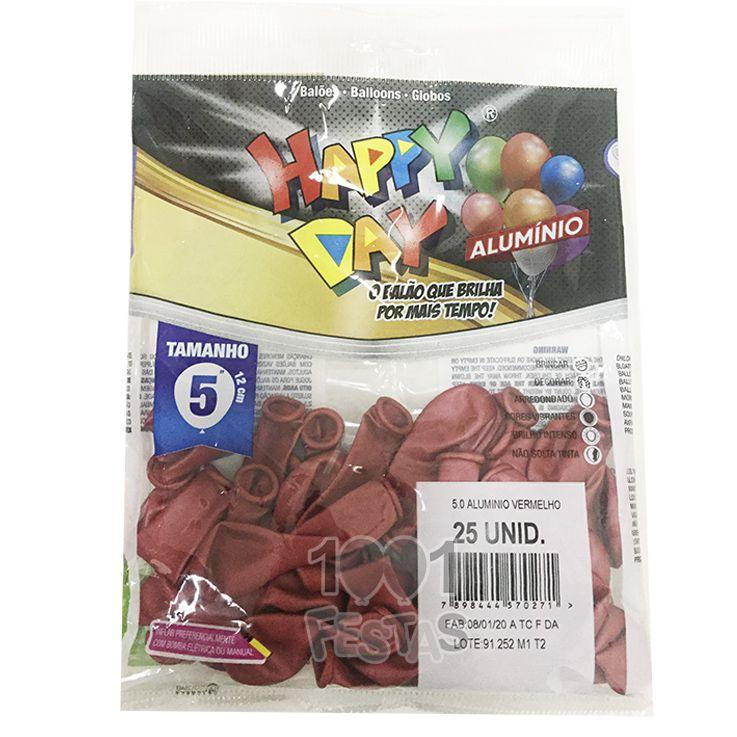 Balão Alumínio Vermelho N05 25 unid Happy Day