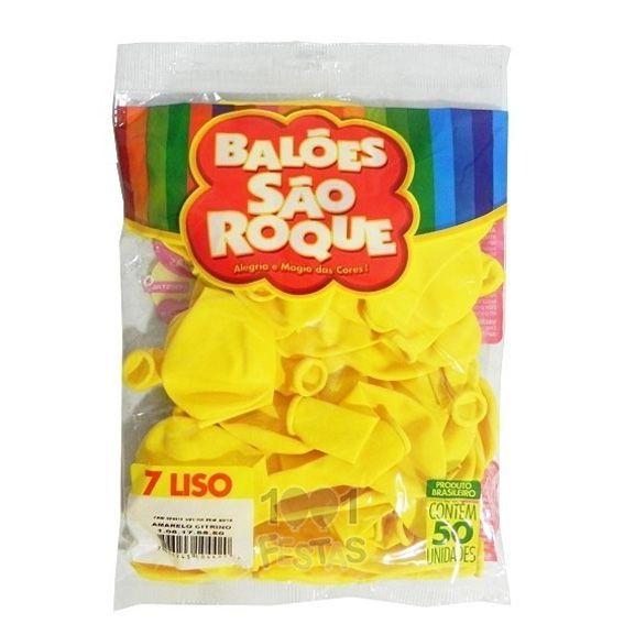 Balão Amarelo Citrino N07 50 unid São Roque