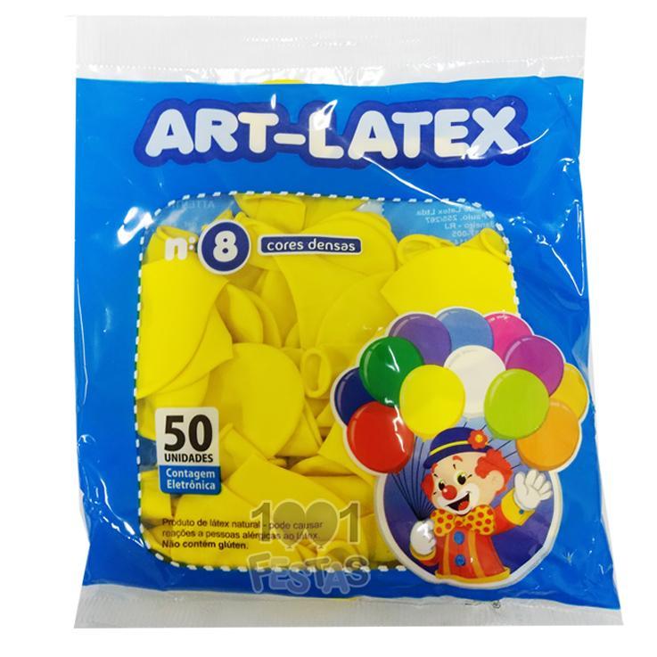 Balão Amarelo N08 50 unid Art Latex