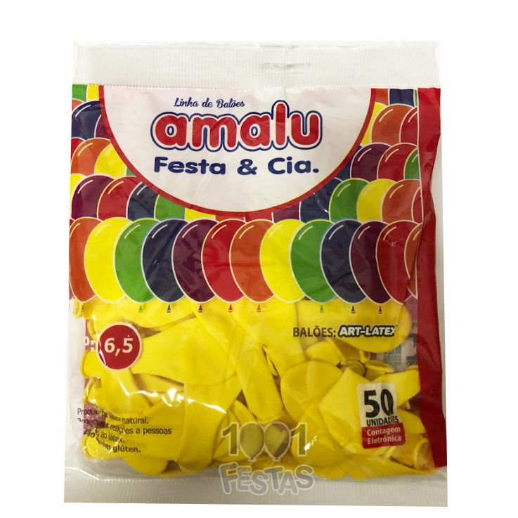 Balão Amarelo N6,5 50 unid Amalu