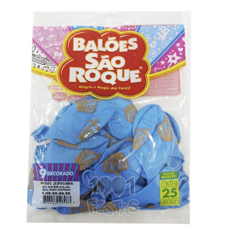 Balão Azul Baby Coroa Dourado N09 25 unid São Roque