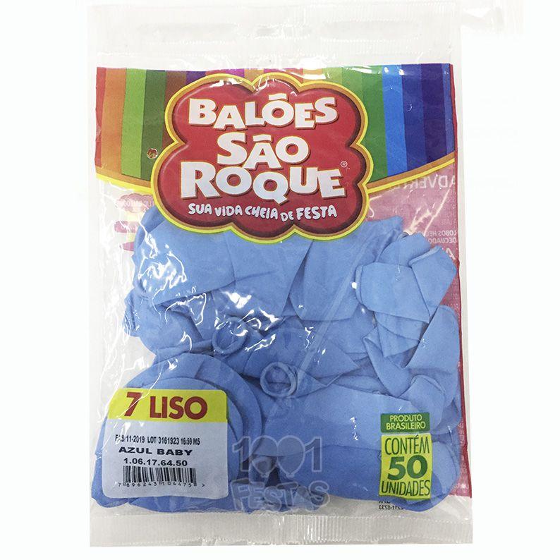 Balão Azul Baby N07 50 unid São Roque