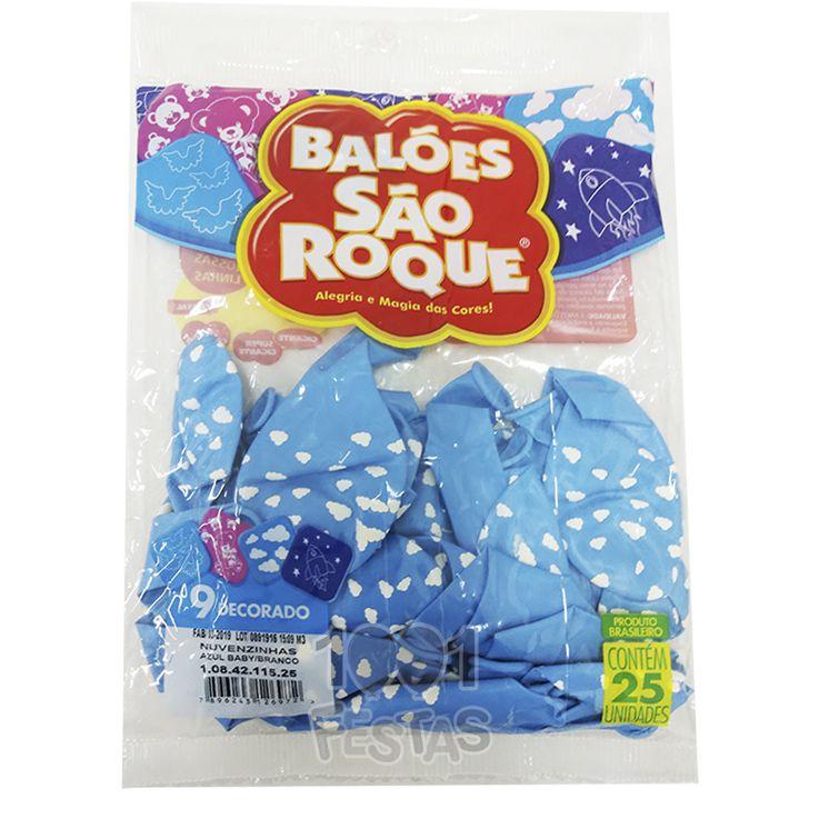 Balão Azul Baby Nuvenzinhas  Branco N09 25 unid São Roque