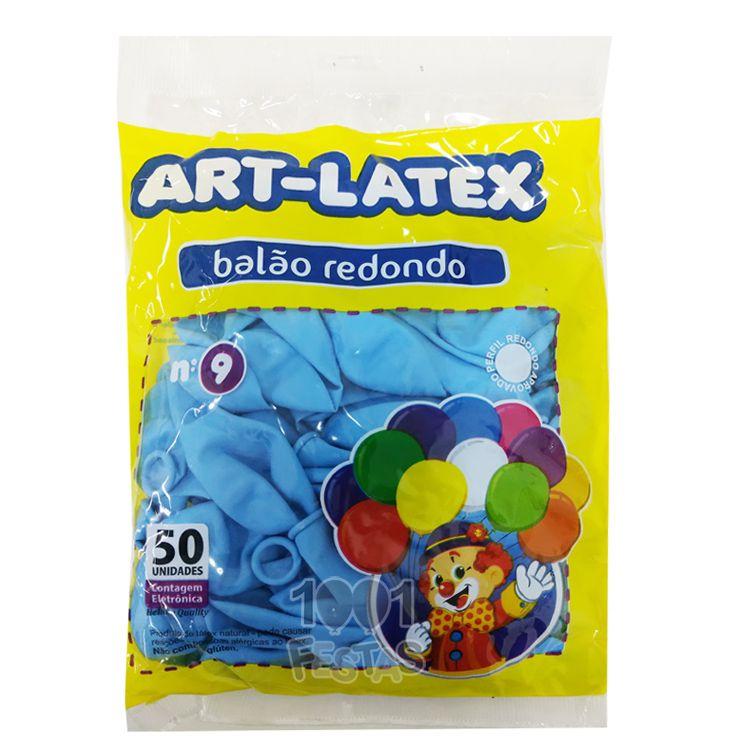 Balão Azul Claro N09 50 unid Art Latex