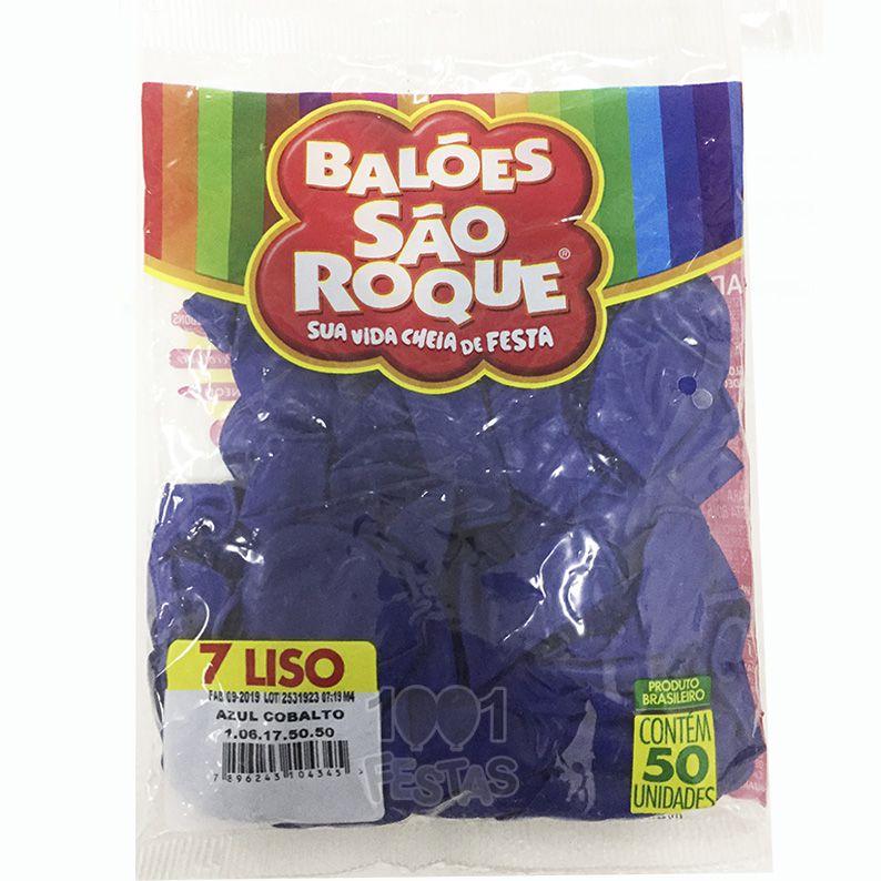 Balão Azul Cobalto N07 50 unid São Roque