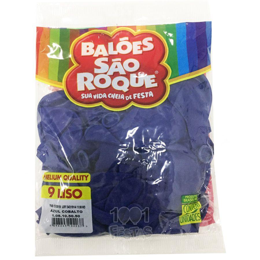 Balão Azul Cobalto N09 50 unid São Roque