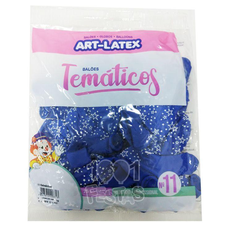 Balão Azul Estrela Branca N11 25 unid Art Latex