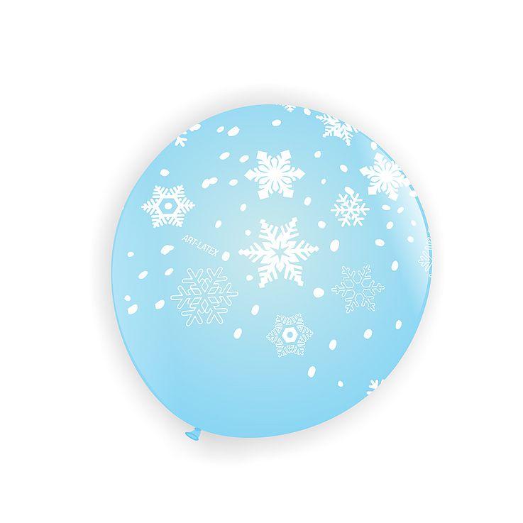 Balão Azul Floco de Neve Branco N11 25 unid Art Latex