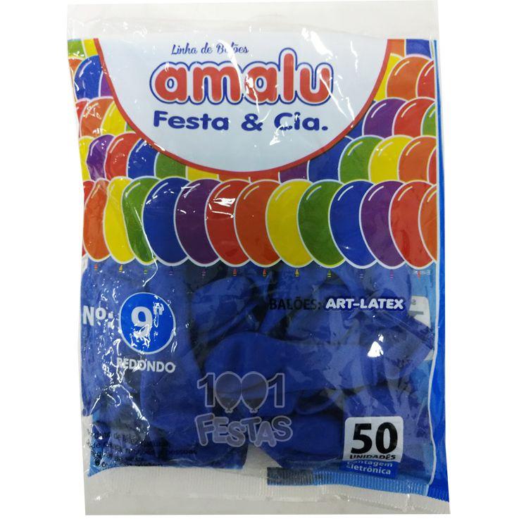 Balão Azul N09 50 unid Amalu