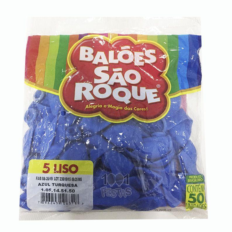 Balão Azul Turquesa N05 50 unid São Roque