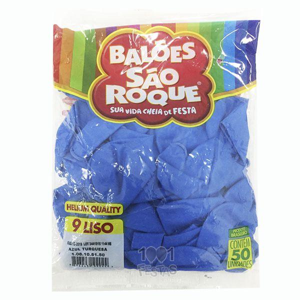Balão Azul Turquesa N09 50 unid São Roque