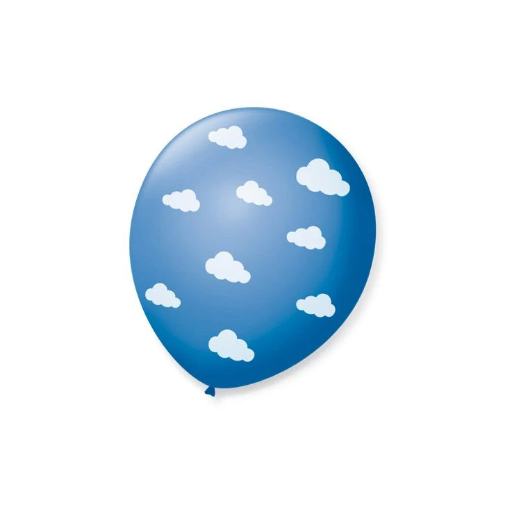 Balão Azul Turquesa Nuvenzinhas  Branco N09 25 unid São Roque