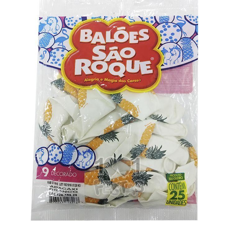 Balão Branco  Abacaxi N09 25 unid São Roque