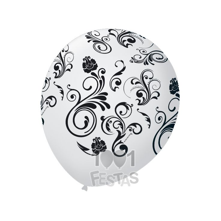 Balão Branco Arabesco Preto N09 25 unid São Roque