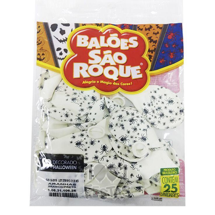Balão Branco Aranhas Preto N09 25 unid São Roque