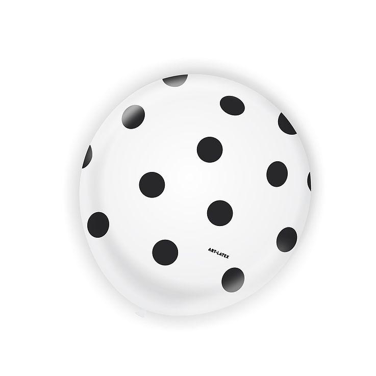 Balão Branco Bolinha Preta N11 25 unid Art Latex