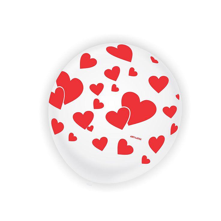 Balão Branco Coração Love N11 25 unid Art Latex