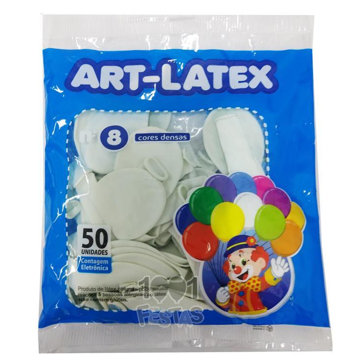 Balão Branco N08 50 unid Art Latex