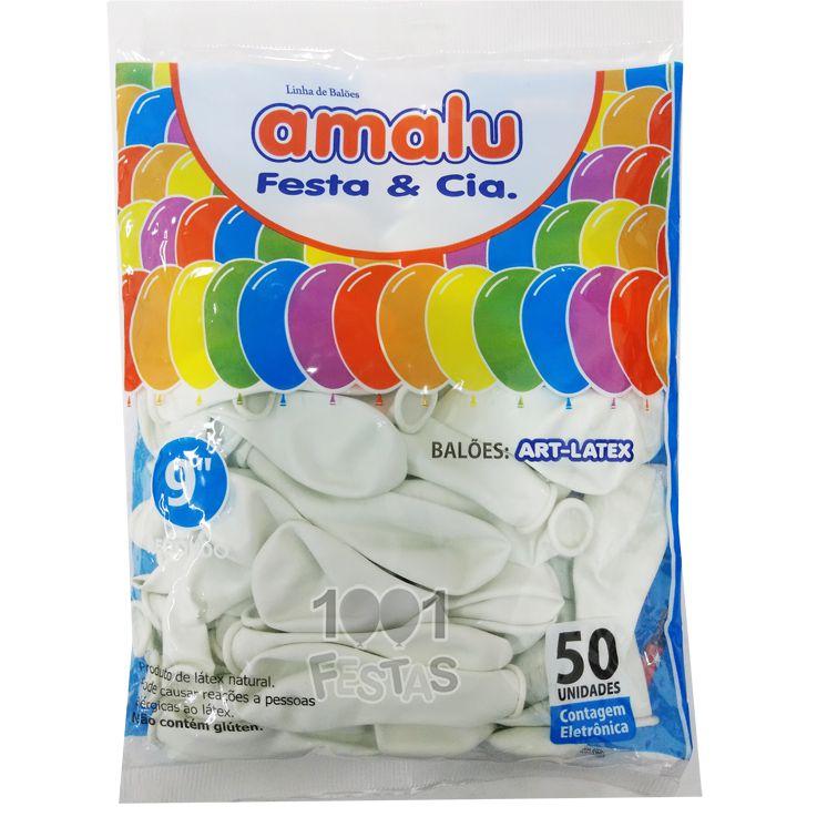 Balão Branco N09 50 unid Amalu
