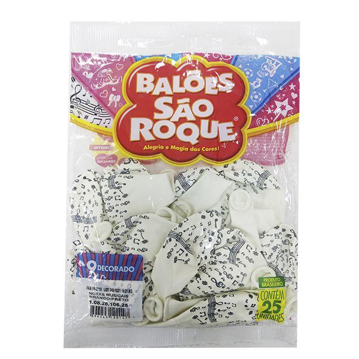 Balão Notas Musicais Branco/Preto N09 25 unid São Roque