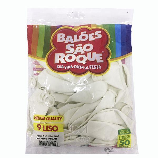 Balão Branco Polar N09 50 unid São Roque
