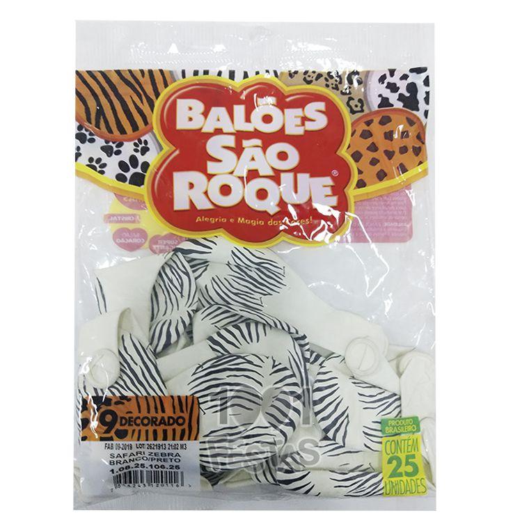 Balão Branco Safari Zebra Preto N09 25 unid São Roque