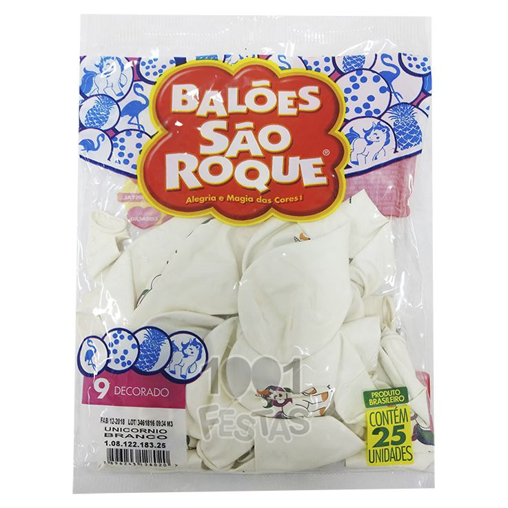 Balão Branco Unicórnio N9  25 unid São Roque
