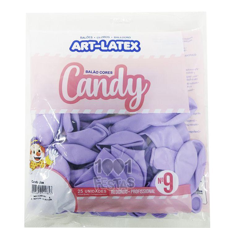 Balão Candy Lilás N9 25 unid Art Latex
