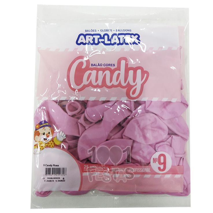Balão Candy Rosa N9 25 unid Art Latex