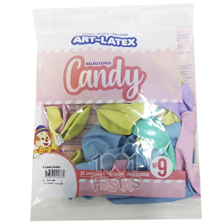 Balão Candy Sortido N9 25 unid Art Latex