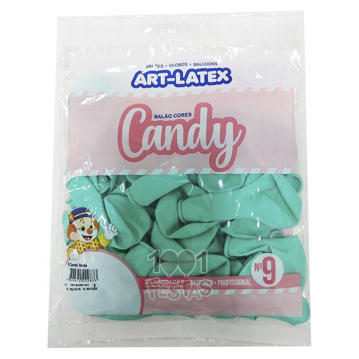 Balão Candy Verde N9 25 unid Art Latex