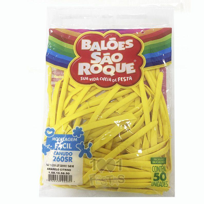 Balão Canudo Amarelo Citrino 50 unid São Roque